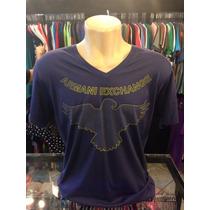 Camiseta Armani Exchange Azul Tam Gg Gola V Original #054