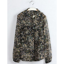 Camisa Feminina Chiffon Importada Zara. Militar. Tam G. New