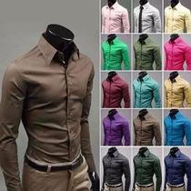 Camisa Social Masculina Slim Fit Lisa Várias Cores Importada