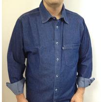 Camisa Casual Jeans Manga Longa