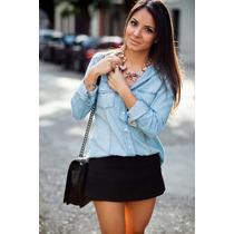 Camisa Jeans Feminina 6 Cores Veste Bem + Calcinha De Brinde