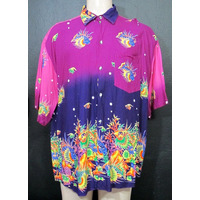 Luxo Camisa Hawaii Fundo Mar Peixe Exclusiva Festa C.19