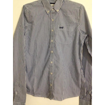 Camisa Abercrombie & Fitch Listrada Azul E Branca Em M