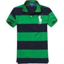 Camisa Polo Ralph Lauren Masculina Listrada Verde E Azul