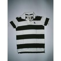 Camiseta Abercrombie & Fitch - Polo Listrada Branco Com Verd