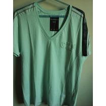Camisa Calvin Klein Masculina Gola V Verde Claro Tm G Nova