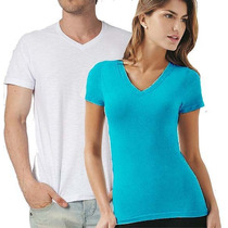 Camisa Color/branca Malha Pv - Gola V Ou Redonda - Masc/fem