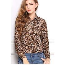 Cardigan /blusinha Blusa Camisa Feminina Casual Estampa Onça