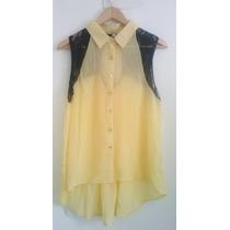 Camisa Amarela Renda Rendas Verão Blusa Social Mullet