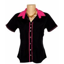 Camisa Feminina Manga Curta Blusa Dudalinda Black