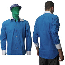 Camisa Social Masculina Luxo Slim Fit Esporte Fino Azul/clar