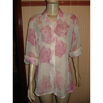 Camisa Feminina Transparente Estampada Tam G