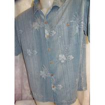Camisa Importada Hawaii Aço Flor Seda Texturada G