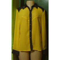 Camisa Amarela Musseline Chiffon E Tachinhas(m)