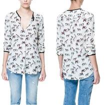 Camisa De Seda Importada Animal Print- Pronta Entrega