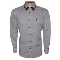 Camisa Social Ralph L Cinza E Preta Listrada Rl412