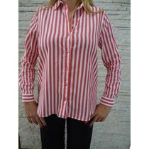 Camisa Zara Listrada Vermelho E Creme Tam G