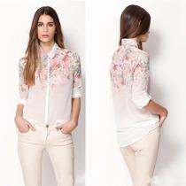 Camisa Importada De Chifon Com Bordado Floral