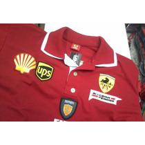 Camiseta Polo Ferrari Homem Bordada - Pronta Entrega