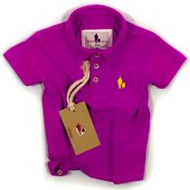 Camisa Polo Infantil, Qualidade Importada Original Fucsia