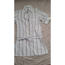 Camisa Tipo Chemise Cinto Le Lis Blanc M Listras Branca Azul