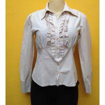 Camisa Feminina Listrada Algodão Babados Barreds M 38/40