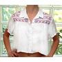 Camisa Cropped Feminina C/ Bordado Etnico Grife Patoge