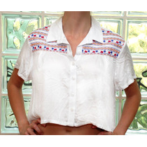Camisa Cropped Feminina Bordado Etnico Boho Grife Patoge