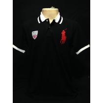 Camiseta Polo Ralph Lauren Preto Com Cavalo Vermelho Tam P
