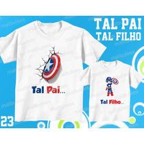 Camiseta Capitão América Tal Pai Tal Filho(a) Kit Com 2 Uni