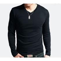 Camiseta Gola V Masc/ Fem Preta E Branca Entrega Rápida