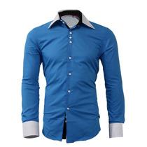 Camisa Social Masculina Luxo Slim Fit Esporte Fino Azul