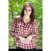 Camisa Social Toque De Seda Vermelho E Marrom - 1029