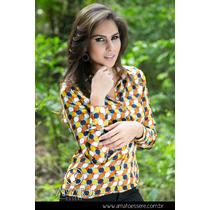 Camisa Social Toque De Seda Azul E Amarelo - 1029