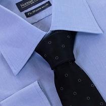 Camisa Social 100% Algodão Fio 50 Mescla Azul 01 1012