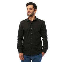 Camisa Social Hugo Boss Preta Lisa C/ Bolso
