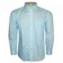 Camisa Social Hugo Boss Azul Claro Lisa C/ Bolso