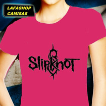 Camiseta Slipknot Baby Look Feminina Camisas Punk Rock Rosa