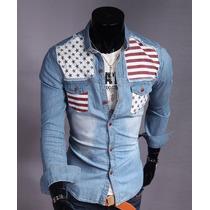 Camisa Slim Fit Estrelas E Listras Importada - Frete Grátis
