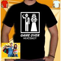 Camisa Game Over Camiseta Casou Headshot Humor Bandas