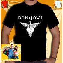 Camiseta Bon Jovi Camisa Nirvana Beatles Rolling Acdc Bandas