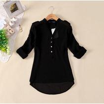 Camisa Blusa Feminina Chiffon/seda/importada Manga Longa
