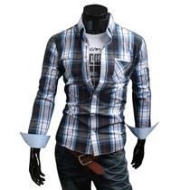 Camisa Social Manga Longa Xadrez Slim Fit Masculina