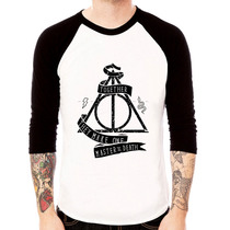 Camiseta Blusa Raglan 3/4 Harry Potter Relíquias Da Morte 02