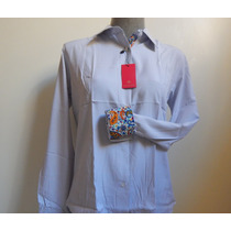 Camisa Social Feminina Original Listrada Branca Cinza Tam 42