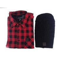 Camisa Masculina Xadrez Flanelada Vermelho Com Preto + Gorro