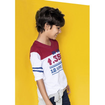 Camiseta Menino Gola V Hering Kids Manga Longa 5c4hnoa10