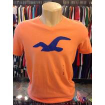 Camiseta Hollister Laranja Com Azul Tam G Gola V #112 Camisa