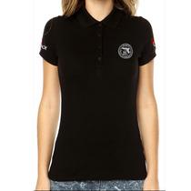 Camisa Gola Polo Glock Action Preta Feminina Tática Militar