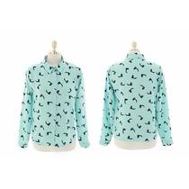 Camisa Social Feminina Verde Água Com Pássaros